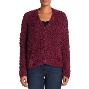 NWT RBX Boucle Knit Cardigan in Zinfandel Red